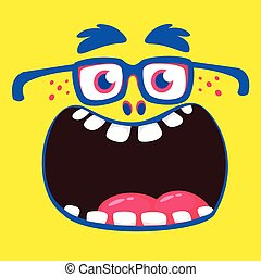 Funny cartoon monster face. Vector Halloween monster square ...
