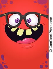 Funny cartoon monster face with eyeglasses. Vector Halloween...