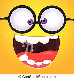 Funny cartoon monster face with eyeglasses. Vector Halloween monster square avatar