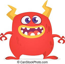 Funny cartoon monster. Vector red monster illustration. Halloween design