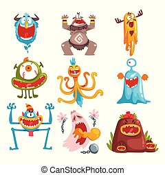 Funny cartoon monster with different emotions, colorful fabulous creature characters vector Illustration
