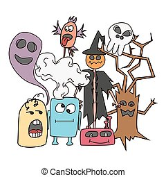 Funny cartoon monsters card.