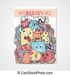 Funny cartoon monsters poster