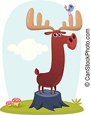 Funny cartoon moose illustration