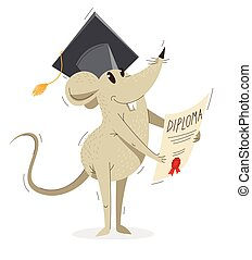 Funny cartoon mouse in a student hat with diploma graduation from university vector illustration, education concept, humorous rat drawing.