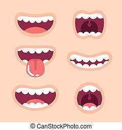Funny cartoon mouths set