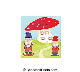 funny cartoon mushroom house and two funny gnomes