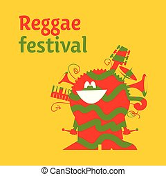 funny cartoon musician man with instruments. classic color reggae music concept poster. Jamaica poster vector illustration