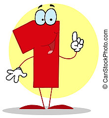 Funny Cartoon Numbers-1  - Friendly Number 1 One Guy