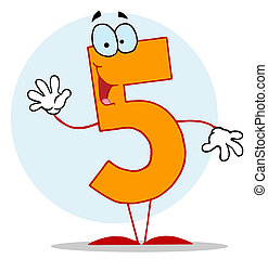 Funny Cartoon Numbers-5  - Friendly Number 5 Five Guy