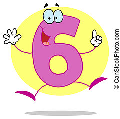 Funny Cartoon Numbers-6  - Friendly Pink Number 6 Six Guy