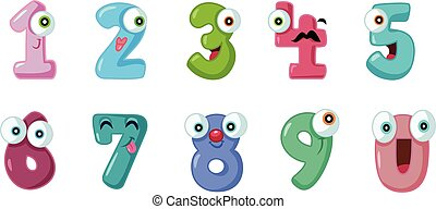 Funny Cartoon Numbers Set Collection