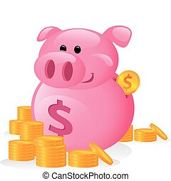 Funny Cartoon of a Piggy Bank
