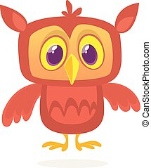 Funny cartoon owl with big eyes. Vector illustration.