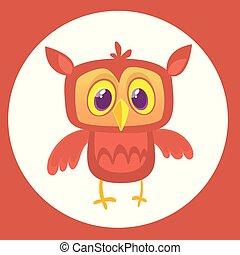 Funny cartoon owl with big eyes. Vector illustration