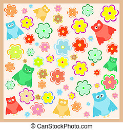 funny cartoon owl with flowers background