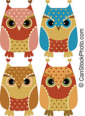 Funny cartoon owls