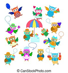 Funny cartoon owls set with fruit, ice cream, cake, ball. Cute owls character with speech bubble.