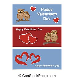 Funny cartoon owls with red heart. Happy Valentines Day Banner.