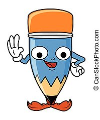Funny Cartoon Pencil Character