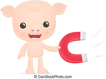 funny cartoon pig in various poses for use in advertising, ...
