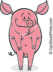 Funny cartoon pig, vector illustration.