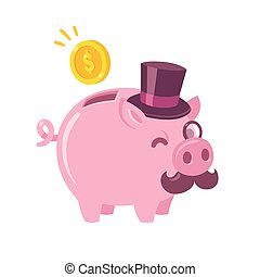 Funny cartoon piggy bank drawing. Cute pig with capitalist...