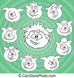 Funny cartoon piglet faces around big pig face