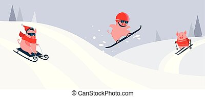 Funny cartoon pigs sliding ,skiing and snowboarding on a winter snowy background. Winter sport activity. Excellent for the design of postcards, posters, stickers and so on.