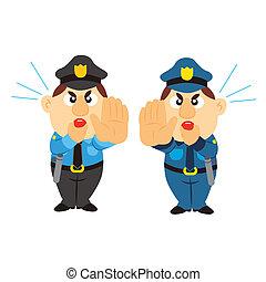 funny cartoon policeman, two colors - funny cartoon...