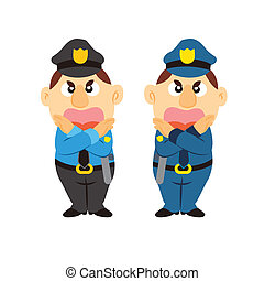 funny cartoon policeman, two colors - funny cartoon...