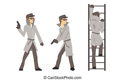 Funny Cartoon Private Detective Character Is Investigating Vector Illustration Set Isolated On White Background