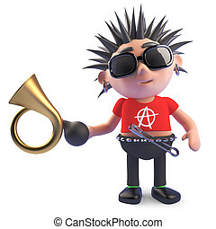 Funny cartoon punk character holding an old car horn, 3d illustration