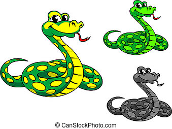 Funny cartoon python snake in three variations isolated on white background