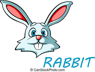 Funny cartoon rabbit or hare head for mascot or easter...