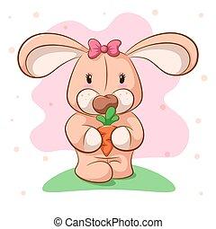 Funny cartoon rabbit with carrot.