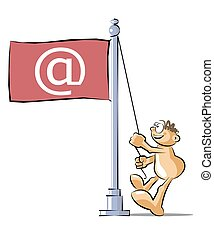 Cartoon raising a flag with the at symbol