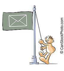 Cartoon raising a flag with the symbol of email