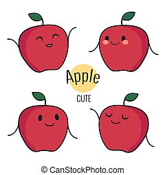 Funny cartoon red apple character with different emotions on the face. Comic emoticon stickers set. Vector icons, isolated on white.