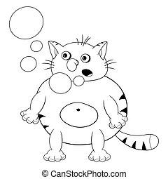 Funny cartoon red cat stands, hiccups and lets bubbles out of his mouth. Funny coloring in the style of comics.