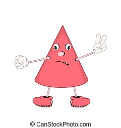 Funny cartoon red cone with eyes, arms and legs, demonstrates the emotion of sadness and shows two fingers.
