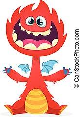Funny cartoon red dragon