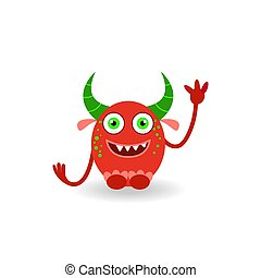 Funny cartoon red horned laughing monster isolated on white