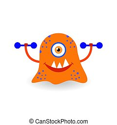 Funny cartoon red monster with dumbbells