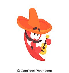 Funny cartoon red pepper character wearing sombrero playing guitar, mexican traditional humanized food in traditional clothes playing music vector Illustration
