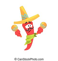 Funny cartoon red pepper character wearing sombrero shaking maracas, mexican traditional humanized food in traditional clothes playing music vector Illustration