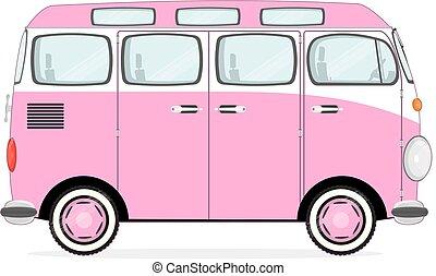 Funny cartoon retro van