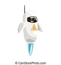 Funny cartoon robot character vector Illustration