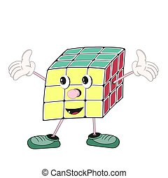 Funny cartoon Rubik's cube with eyes, arms and legs in shoes, shows a positive emotion and raises hands.