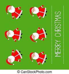 Funny cartoon Santas. Green Background. Merry Christmas card.